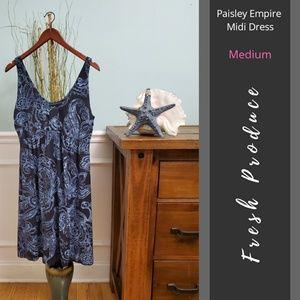 Fresh Produce   Paisley Empire Midi Dress